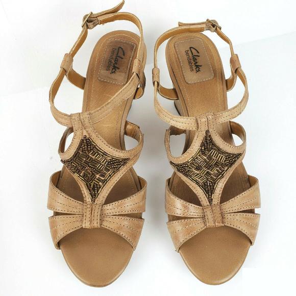 Leather Wedge Clarks Poshmark Sandals ShoesBendables Beaded rxoedQBCW